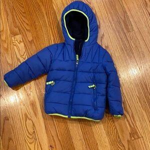 Snozu hooded blue puffer coat size 4T